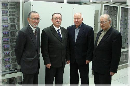 Ветераны СКЦ. Слева направо В.И. Бакин, Н.В. Закурдаев, В.Г. Афонин, Ю.Ф. Иванов.